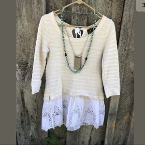 Anthropologie East Falls Tunic lace pullover S